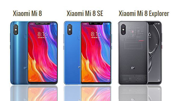 Xiaomi Mi 8 vs Mi 8 SE vs Mi 8 Explorer Edition