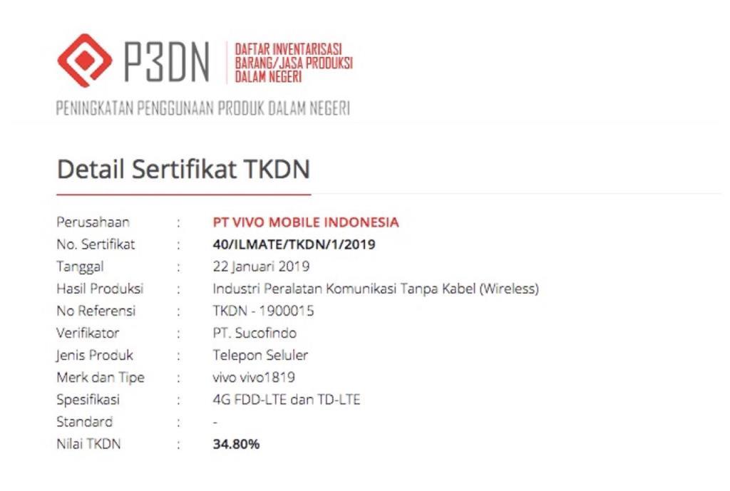 Sertifikat TKDN Hp terbaru Vivo V15