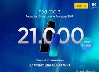 Penjualan online Realme 3 di lazada